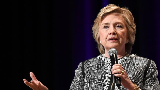 Former Secretary of State Hillary Clinton speaks onstage. Picture: AFP