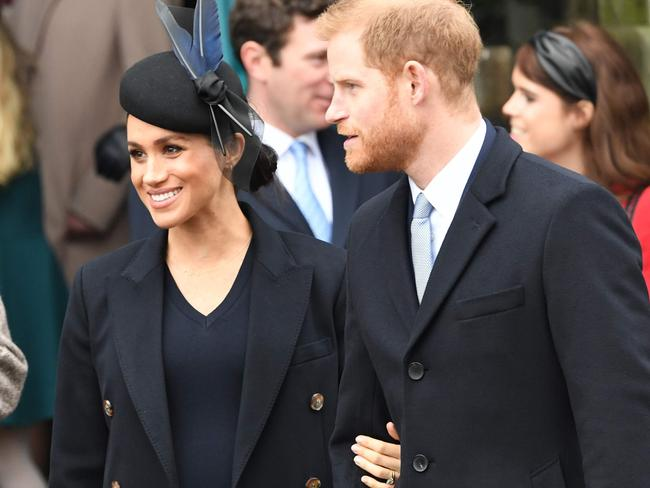 Meghan and husband Prince Harry after the Christmas service.