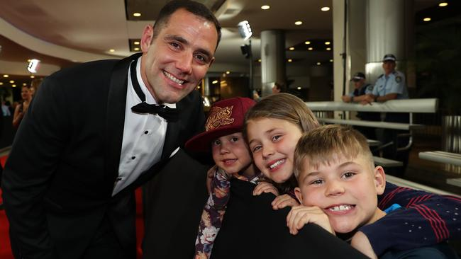 Cameron Smith with his children during the Dally M Awards in Sydney. Picture: Brett Costello