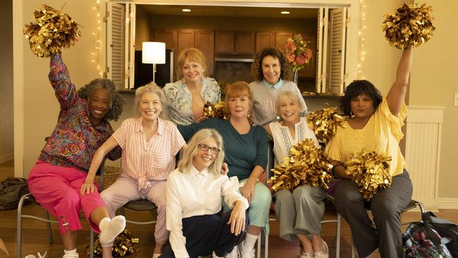 Weaver stars alongside a cast of older actresses in the new cheerleading comedy Poms. PictureL Roadshow Pictures.