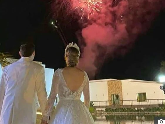 The couple's wedding reception featured fireworks. Picture: Instagram