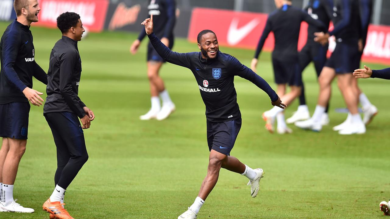 Raheem Sterling during an England training session.