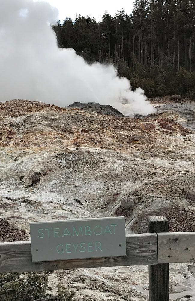 Steamboat geyser on a normal day blustering away at Yellowstone National Park.