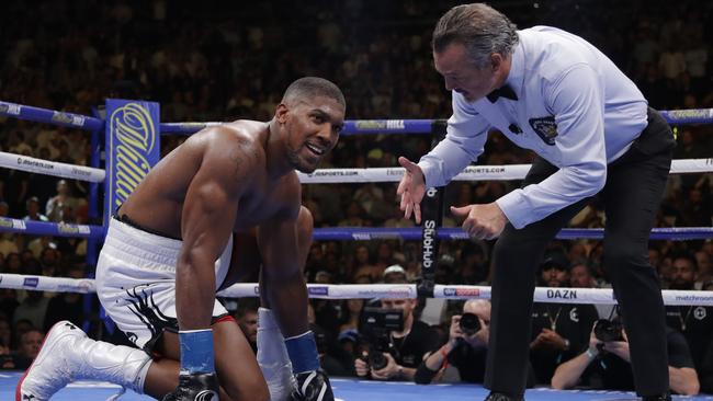 The referee talks to Joshua after he was knocked down by Ruiz during their June fight.