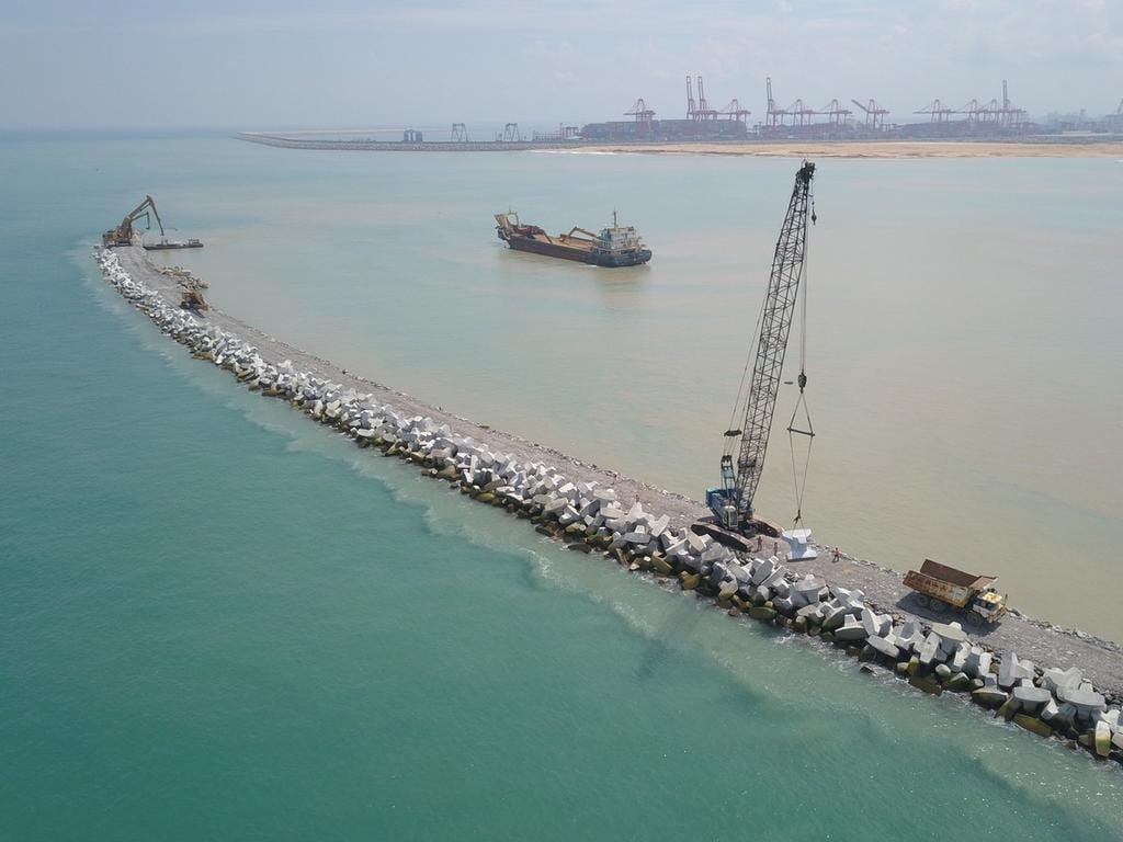One of China's mega BRI projects – this one a port development in Colombo, Sri Lanka. Picture: Zuma