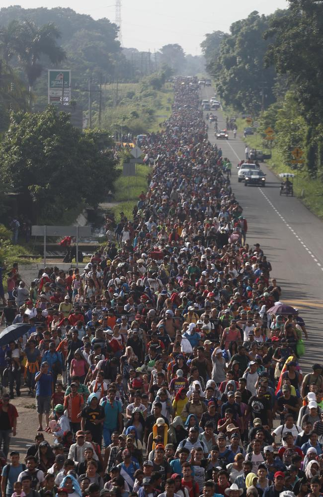 Central American migrants walking to the US. Picture: Moises Castillo