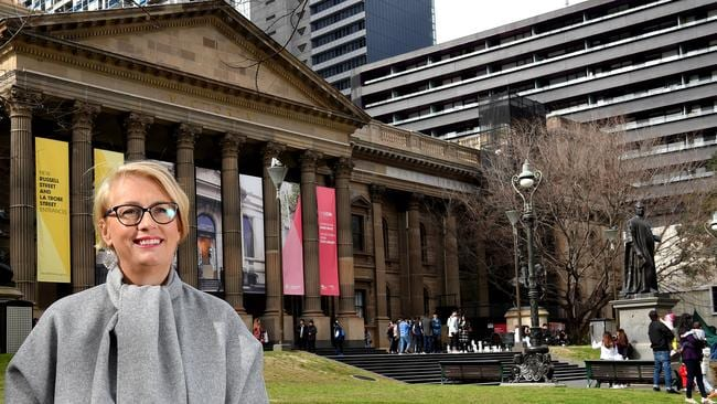 Lord Mayor Sally Capp outside one of her favouite places in Melbourne, the State Library. Picture: Nicole Garmston