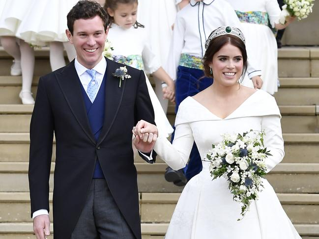 Princess Eugenie of York and her husband Jack Brooksbank. Picture: Getty