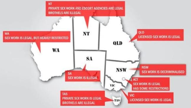 The legality of sex work in Australia varies widely from decriminalised in NSW to completely illegal in South Australia, Picture: news.com.au Source:news.com.au