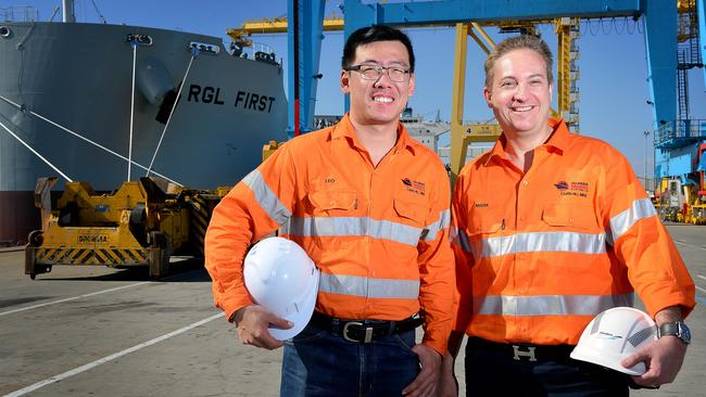 Cu-River Mining Australia corporate service manager Leo Liu and logistics manager Mark Hoepfl at the container terminal at Outer Harbor. Picture: Bianca De Marchi