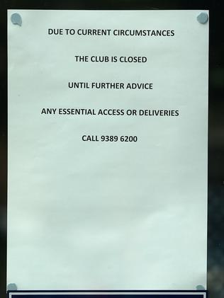 Signage at Ikon Park warning people Carlton's operation was closed. Picture: AAP