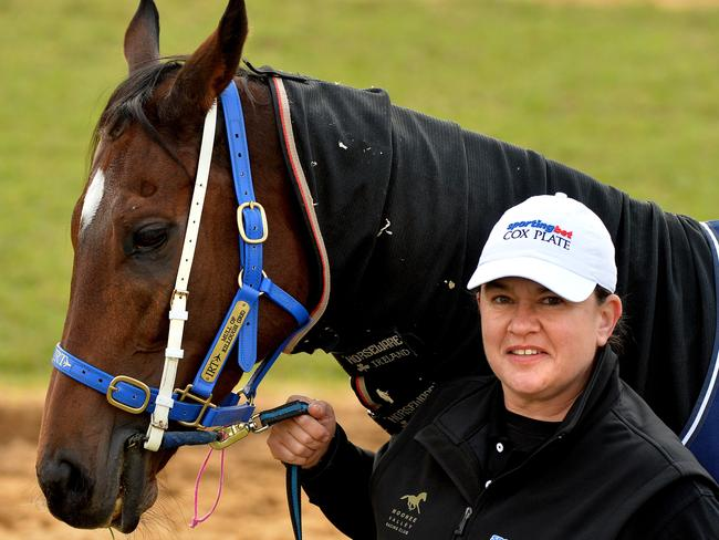 Australian-born Jane Chapple-Hyam with Mull Of Killough, who runs in the Queen Anne Stakes. Picture: Jay Town
