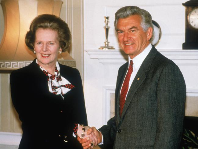 Former Australian prime minister Bob Hawke with British prime minister Margaret Thatcher at 10 Downing Street, London, in 1986. Picture: Fox Photos/Hulton Archive/Getty Images