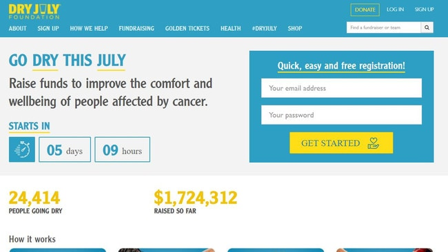 Dry July is a popular fundraiser that sees participants abstain from alcohol to support cancer charities.