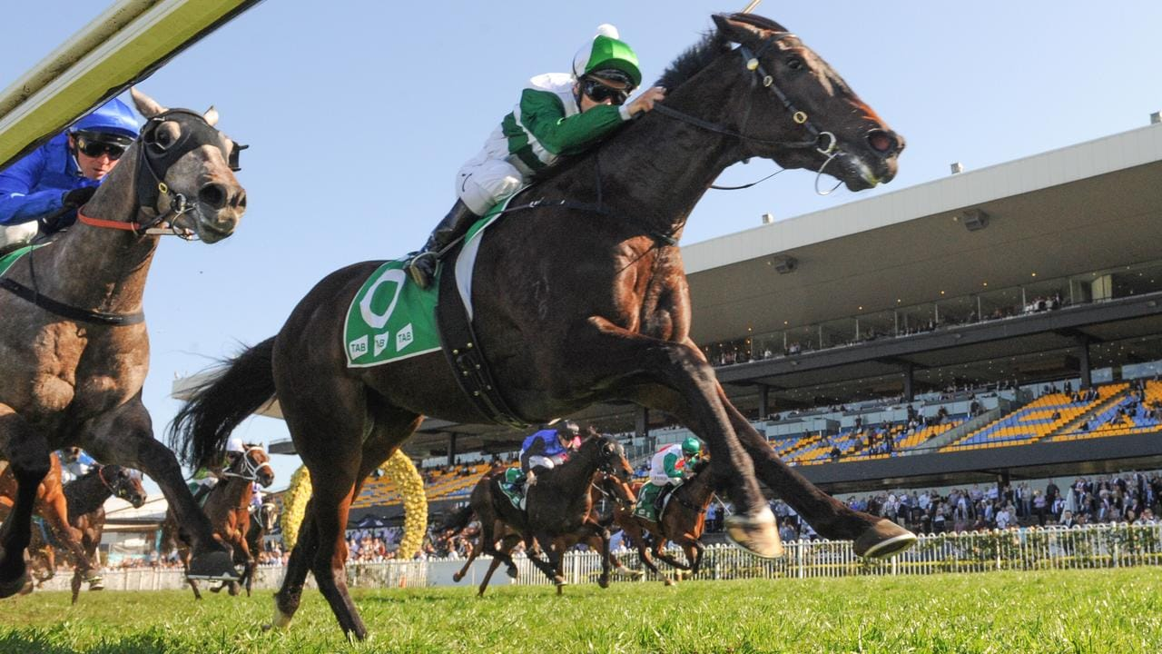 Just Thinkin' holds on to win the Dulcify Stakes at Rosehill Racecourse on Saturday, September 14. Picture: AAP Image/Simon Bullard