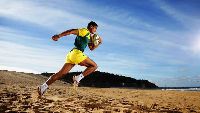 Australian Sevens Rugby player Pama Fou at North Narrabeen beach. Picture: Brett Costello