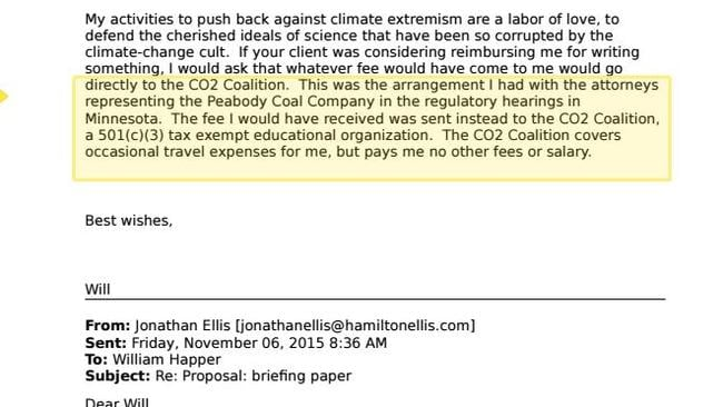 An email exchange between Professor William Happer and the undercover Greenpeace activist.