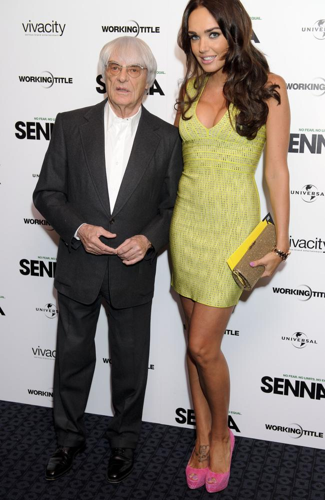 Tamara Ecclestone with her dad, former CEO for Formula One, Bernie Ecclestone. Picture: AP Photo/Jonathan Short.