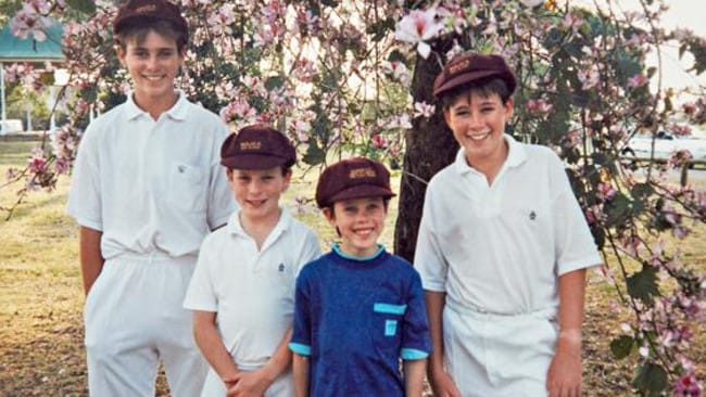 Daniel Feenan (left, pictured with his brothers Daniel, Dominic, Bernard and Luke in 1990) was a victim of Hunter Valley predator priest from the Catholic side, Jim Fletcher. Picture: Supplied