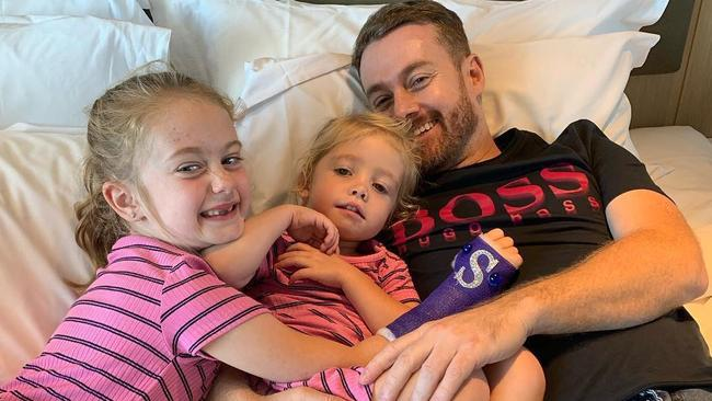 Grant Denyer with his two daughters, Sailor and Scout.