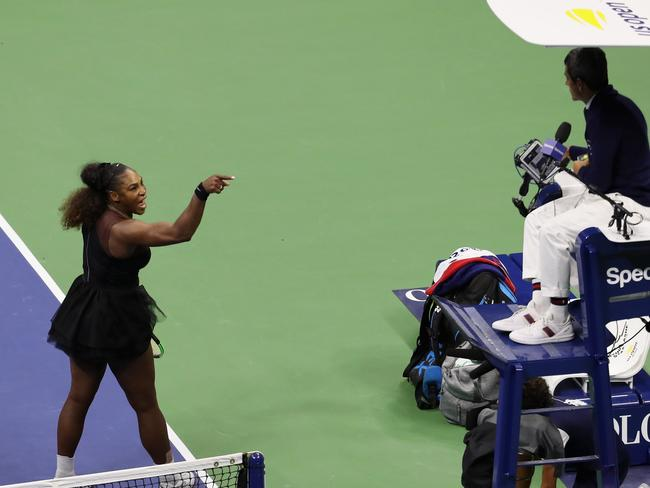 Serena Williams argues with umpire Carlos Ramos during the US Open. Picture: Getty
