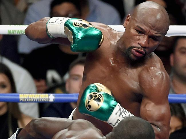 Floyd Mayweather Jr. during his last fight vs Andre Berto in September 2015.