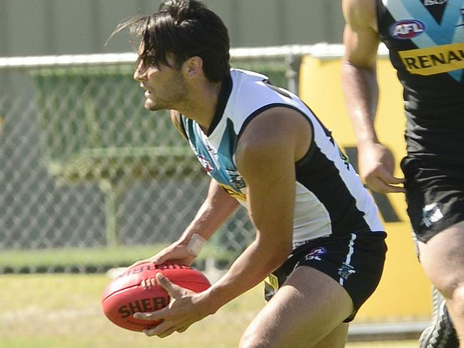 Chad Wingard in action during Port Adelaide's pre-Christmas training. Picture: Bianca De Marchi
