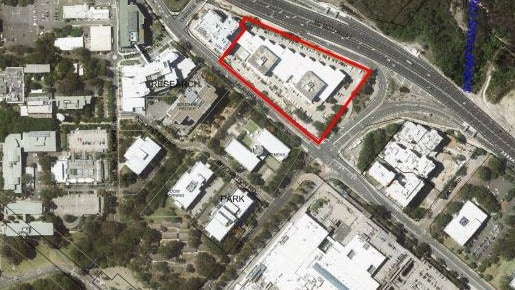 The Meriton towers proposal area in Macquarie Park, shaded in red.