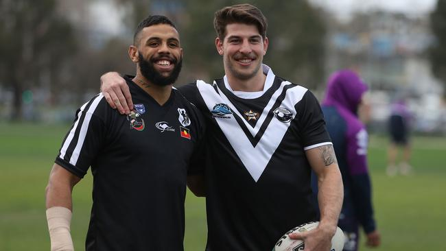 Josh Addo-Carr and Curtis Scott of the Storm at training.