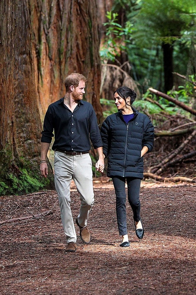 Meghan Markle and Prince Harry Redwoods Treewalk Rotorua, New Zealand 2018. Image credit: Getty Images