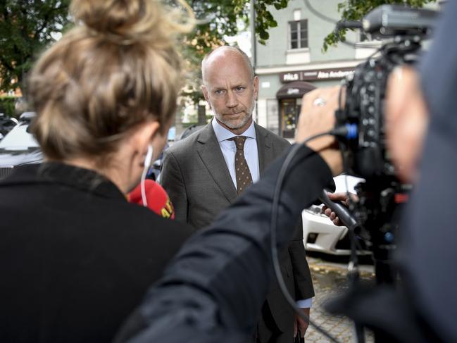 A$AP Rocky's lawyer Henrik Olsson Lilja faces the media. Picture: AP