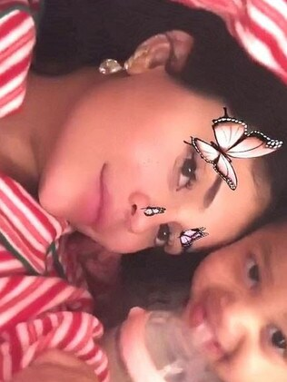 Kylie and Stormi, with Mum wearing diamond earrings. Picture: Instagram