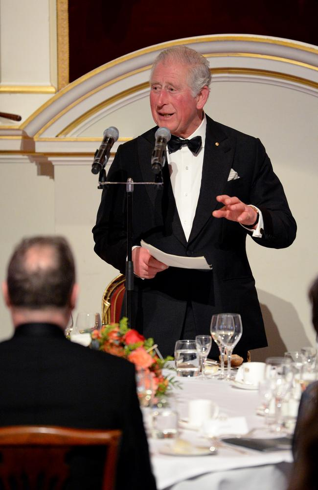 Prince Charles, Prince of Wales makes a speech as he attends a dinner in aid of the Australian bushfire relief and recovery effort at Mansion House. Picture: Getty