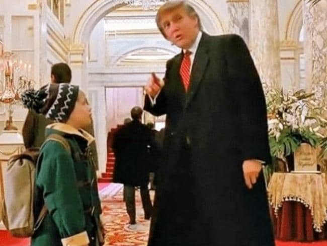 Donald Trump's cameo in Home Alone 2: Lost in New York, was cut for a screening on Canadian TV with the US president blaming Justin Trudeau for the edit. Picture: Supplied