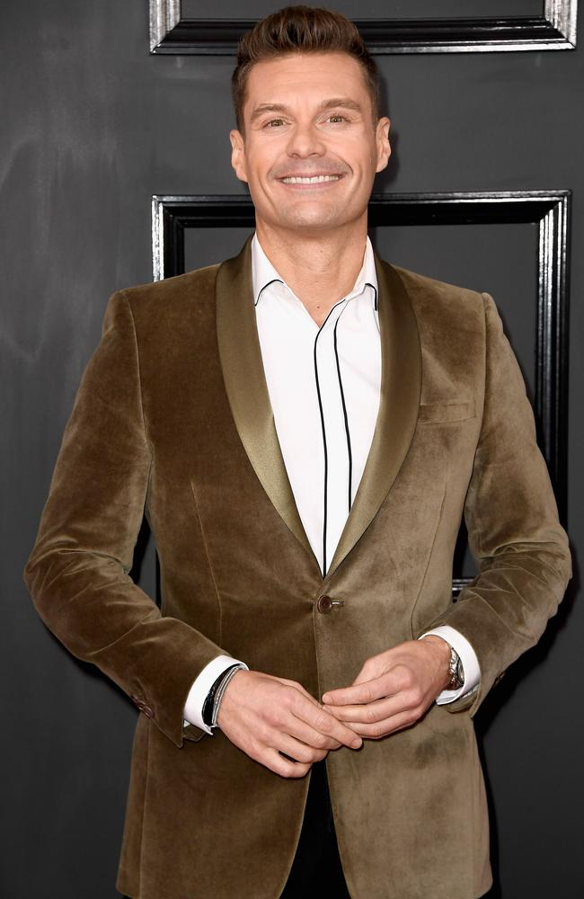 Ryan Seacrest in brown velvet. We had a couch like that in the late 70s. Picture: Frazer Harrison/Getty Images