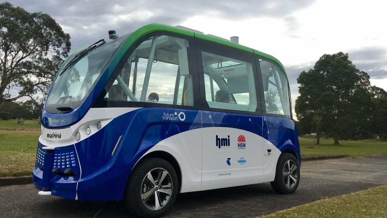 Launch of the first trial of a driverless bus in NSW. Picture: supplied