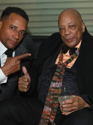 Hill Harper (L) and Quincy Jones hang out. Picture: Getty Images for Universal Music Group