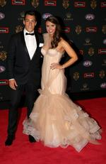 Dion Shiel of GWS and Georgie Williams on the Brownlow red carpet.