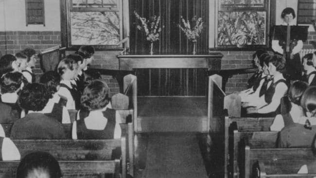 Inside the chapel of Sydney Church of England Girls Grammar School (SCEGGS) at Moss Vale in 1962, where the siege took place.
