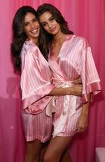 Sara Sampaio and Taylor Hill are seen backstage before the 2015 Victoria's Secret Fashion Show at Lexington Avenue Armory on November 10, 2015 in New York City. Picture: AFP