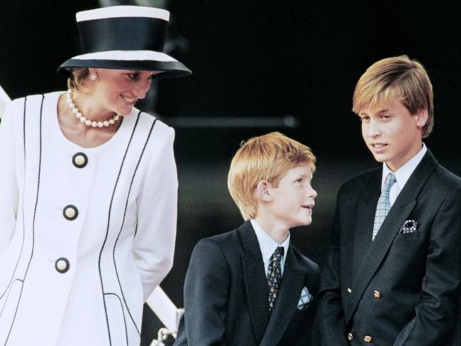 Princess Diana (R) and Harry and William in 1995. Picture: AFP