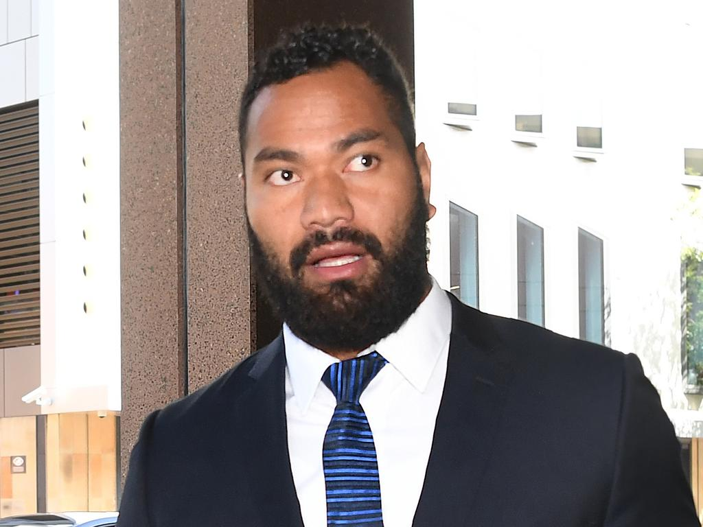 NRL sportsman Tony Williams leaves Parramatta Court in Sydney, Wednesday, February 14, 2018. The former NSW State of Origin and Kangaroos backrower has been fined $1000 and had his licence suspended for 12 months for drink driving. (AAP Image/David Moir) NO ARCHIVING