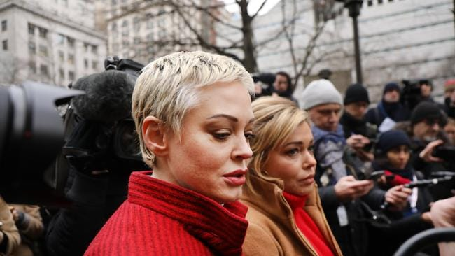 Actress Rose McGowan, who accused Weinstein of raping her more than two decades ago and then of destroying her career, joins other accusers and protesters outside a Manhattan courthouse for the start of his trial. Picture: Spencer Platt/Getty Images.
