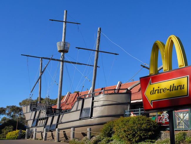 A replica of the fabled Mahogany ship, situated at a McDonald's in Warrnambool.