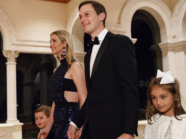 Jared Kushner and Ivanka Trump arrive with daughter Arabella Kushner and son Joseph Kushner for a New Year's Eve gala at Mar-a-Lago. Picture: AP