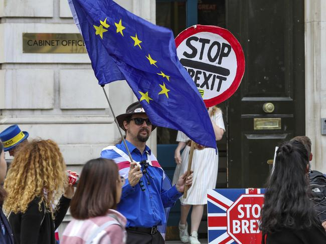 Anti-Brexit protesters demonstrate outside the Cabinet Office in Whitehall, London. Picture: Vudi Xhymshiti/AP