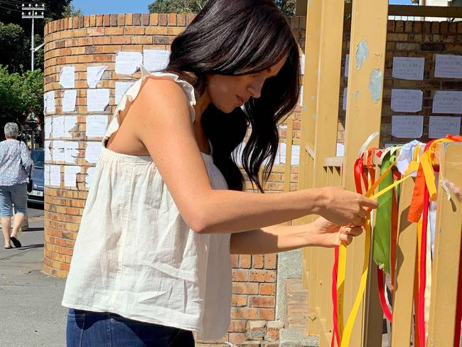 Meghan's huge following has helped shine a light on issues she is interested in – including when she visited the memorial of a murdered South African student, Uyinene Mrwetyana, in Cape Town. Picture: AFP