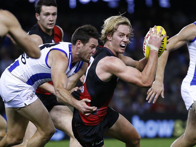 Darcy Parish was one of the young players to stand up in the second half against North Melbourne. Photo: Colleen Petch.