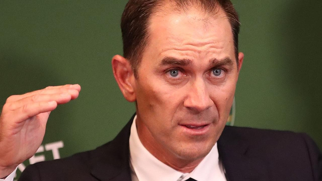 Justin Langer, new coach of Australia speaks to the media during a press conference.