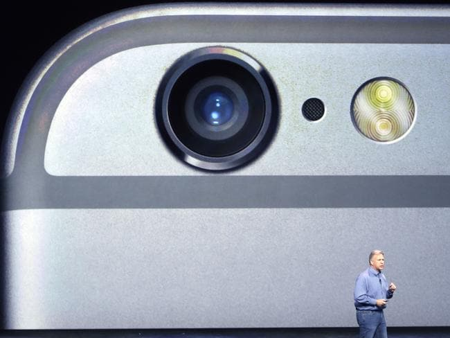 One for selfie lovers ... senior vice president Phil Schiller discusses the camera features on the new iPhone 6 and iPhone 6 Plus. Picture: AP